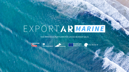 Ariel shot of the sea with ExportAR: Marine text and logos for DIT, Business West, Render